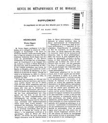 Revue de métaphysique et de morale, supplément 2, 1909