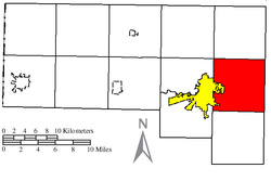 Location of Richland Township in Defiance County