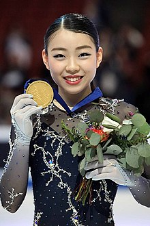 Rika Kihira at the 2019 Four Continents Championships - Awarding ceremony.jpg