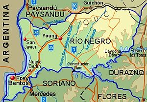Río Negro Department - Topographic map of Río Negro Department showing main populated places and roads
