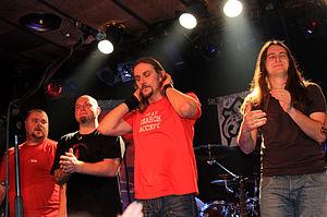 Riverside (band) - Riverside in 2009. From left: Piotr Kozieradzki, Piotr Grudziński, Mariusz Duda, and Michał Łapaj.