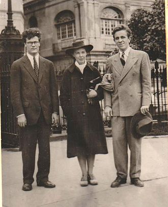 Robert Lowell - Robert Lowell, Jean Stafford (Lowell's first wife), and Peter Taylor in front of The Presbytere at Jackson Square in New Orleans in 1941. Photo by Robie Macauley