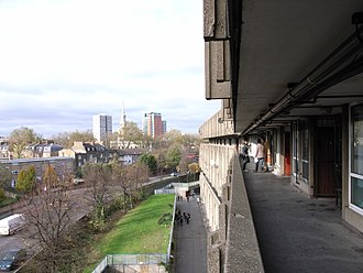 Robin Hood Gardens - Streets in the sky, looking north west across Cotton Street