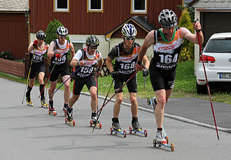 Roller skiing - Roller skiing race—Classic technique.