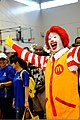 Ronald McDonald cheers during the Special Olympics opening ceremony at Kadena Air Base in Okinawa, Japan, Nov 111105-F-ZT401-232.jpg