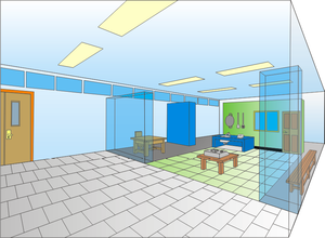 English: The perspective design of a room for ...
