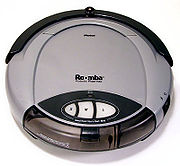 The Roomba domestic vacuum cleaner robot does a menial job.