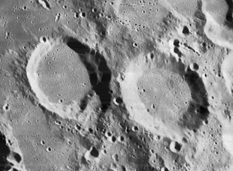 Rost (crater) - Lunar Orbiter 4 image of Rost (right) and Rost A (left)
