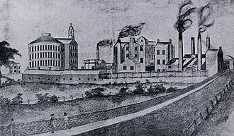 Round Foundry - Representation of the Round Foundry and rotunda from Water Lane in the 19th century