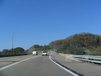 Pennsylvania Route 28 - PA 28 southbound from exit 14 (PA 366).