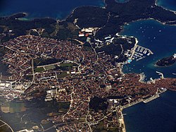 Rovinj/Rovigno as seen from the air in June 2016.
