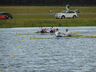 France at the 2012 Summer Olympics - France (right boat) during the final of the men's coxless pair.
