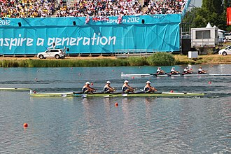 Women's rowing - Debbie Flood competing in the women's quadruple sculls in the 2012 Olympics