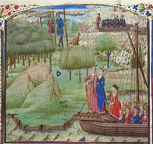 Albion - Albina and other daughters of Diodicias (front). Two giants of Albion are in the background, encountered by a ship carrying Brutus and his men. French Prose Brut, British Library Royal 19 C IX, 1450–1475