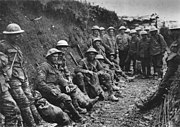 In the trenches: Royal Irish Rifles in a communications trench on the first day on the Somme, 1 July 1916