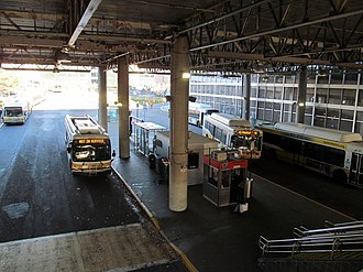 Ruggles station - Buses in the lower busway in 2016