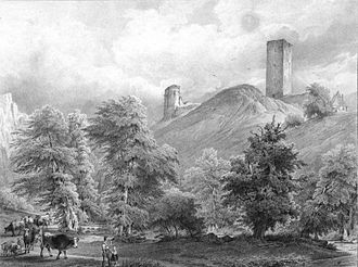 Sponheim family - Sponheim Castle ruins, 19th century engraving