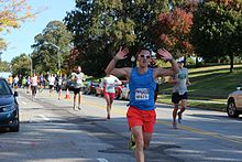 Runners on Patterson Park Avenue during the 2015 Marathon.jpg