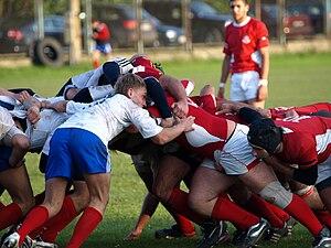 Rugby union in Russia - Russia U19 (in white) playing Georgia U19 in 2009.