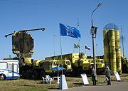 From left to right: the 64N6E2 radar, 54K6E2 command post, 5P85 missile launch vehicle, and the 9M96E2 missiles.