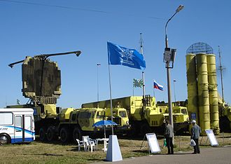 Missile defense systems by country - S-300PMU-2 vehicles. From left to right: 64N6E2 detection radar, 54K6E2 command post and 5P85 TEL.