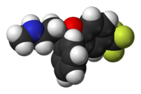 A molecule of fluoxetine (Prozac), the first F...