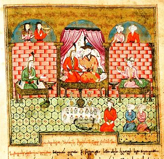 Vis and Rāmin - A Persianate miniature from the 1729 manuscript of the Georgian adaptation of Vis and Rāmin.