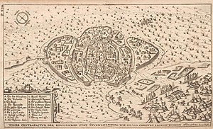 """Székesfehérvár Basilica - Johan Sibmacher's """"True depiction of the royal city of S., as it was conquered by the Christians"""" shows the basilica destroyed and burning and some more buildings on fire."""