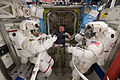 STS-133 Steve Bowen, Michael Barratt and Alvin Drew in the Quest airlock.jpg