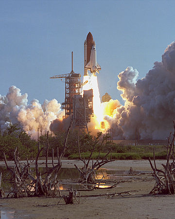 The launch of shuttle, Discovery, on STS-41-D, its first mission. STS-41-D launch August 30, 1984.jpg