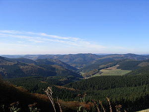Süder Uplands - View from Härdler looking northwest over Milchenbach to the Saalhausen Hills, part of the Süder Uplands