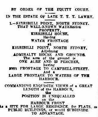 Kirribilli House - Advertisement for sale of Kirribilli House, 1919