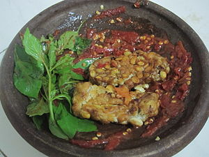 Javanese cuisine - Sambal tempeh penyet kemangi.