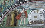 San vitale, ravenna, int., presbiterio, mosaici di dx 03 offerta di abele e melchidesech 02.JPG