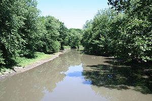 Mahomet, Illinois - The Sangamon River as viewed from the covered bridge at Lake of the Woods forest preserve.