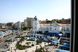 Gran Casino del Sardinero - The Plaza de Italia and the casino, as seen from the Hotel Sardinero.