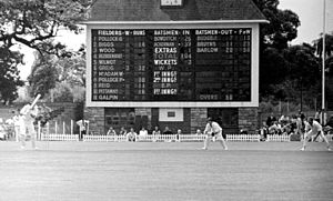 Newlands Cricket Ground - The scoreboard at Newlands cricket ground Cape Town South Africa during the match between Western Province and Eastern Province in February 1972