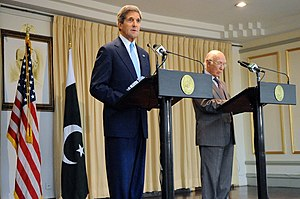 Sartaj Aziz - John Kerry and Aziz address reporters during a news conference in Islamabad.