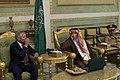 Secretary of Defense Chuck Hagel meets with Prince Fahd bin Abdullah, Deputy Minister of Defense, for a welcoming tea ceremony, in Riyadh, Saudi Arabia, April 23, 2013 (Pic 2).jpg