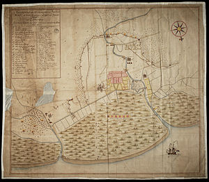 Java War (1741–1743) - A map showing the situation in Semarang. The fort (center) was surrounded by Chinese and Javanese troops.