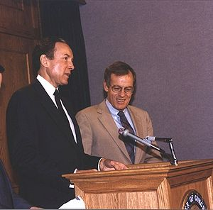 Wayne Owens - U.S. Sen. Orrin Hatch (R-Utah) (left) holds a press conference with U.S. Rep. Wayne Owens (D-Utah) (right) in March 1989 as part of their successful charge to win passage of the Radiation Exposure Compensation Act (RECA), which provides for ongoing compensation to Southern Utahns and others damaged by nuclear testing in the 1950s and 1960s.