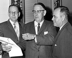 Florida Legislative Investigation Committee - Johns Committee namesake and chairman Charley Johns (center) discusses plans to screen out homosexuals from employment in state government and colleges, 1963