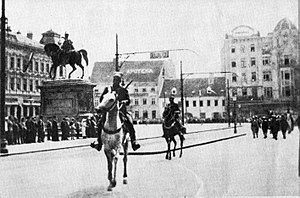 State of Slovenes, Croats and Serbs - Units of the Serbian Army enter Ban Jelačić Square in Zagreb, 1918.