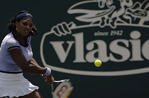 Backhand - Serena Williams preparing to hit a backhand.
