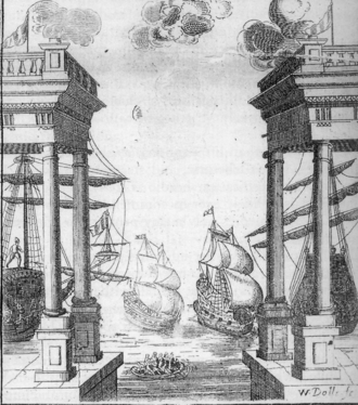 Restoration spectacular - This naval battle was one of the sets for Elkanah Settle's Empress of Morocco (1673) at the theatre in Dorset Garden.