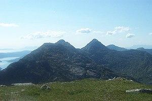 Sgùrr na Cìche - Garbh Cìoch Mhòr and Sgùrr na Cìche seen from Sgùrr nan Coireachan to the west.