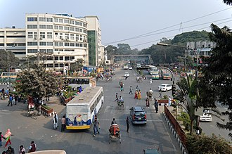 Shahbag - Shahbag Square, Kazi Nazrul Islam Avenue lies straight while Shahbag road lies left from the intersection