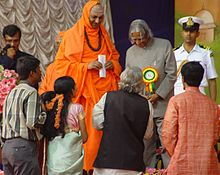 Sharada appreciated by APJ Abdul Kalam during 100th birth day of Siddaganga Swamiji.jpg