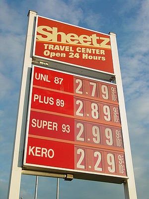 Economic effects of Hurricane Katrina - Sign showing gas prices in front of Sheetz in Mount Jackson, Virginia, on August 31, 2005, just as Hurricane Katrina began to make its mark on the price of gasoline. Prices had risen thirty cents since the previous day, and would rise an additional twenty cents before the day was over.