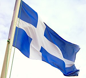 Flag of Shetland - Photograph of the flag flying in Unst